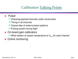 Calibration  Talking Points