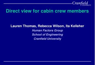 Direct view for cabin crew members