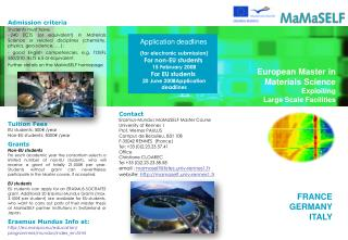 European Master in Materials Science Exploiting Large Scale Facilities