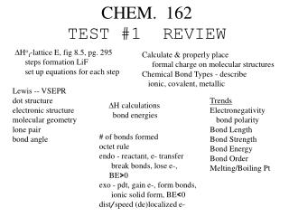 CHEM.  162 TEST #1  REVIEW