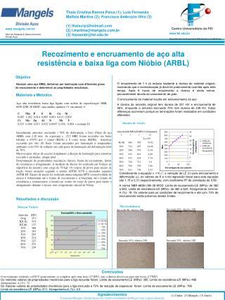 Recozimento e encruamento de aço alta resistência e baixa liga com Nióbio (ARBL)
