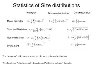 Statistics of Size distributions