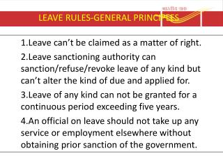 LEAVE RULES-GENERAL PRINCIPLES