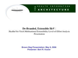 Brown Bag Presentation: May 9, 2006 Presenter: Bert R. Kosier