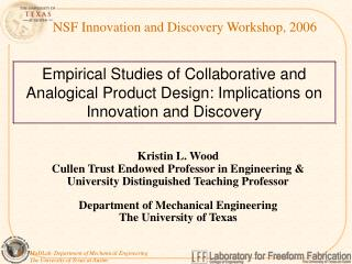 NSF Innovation and Discovery Workshop, 2006