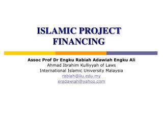 ISLAMIC PROJECT FINANCING