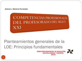 Planteamientos generales de la  LOE: Principios fundamentales