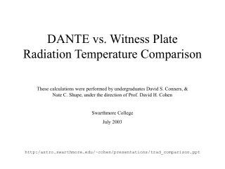 DANTE vs. Witness Plate  Radiation Temperature Comparison
