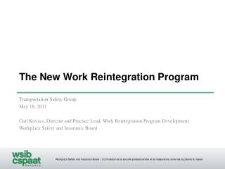 The New Work Reintegration Program