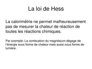 La loi de Hess