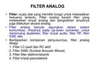 FILTER ANALOG