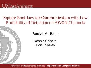 Square Root Law for Communication with Low Probability of Detection on AWGN Channels