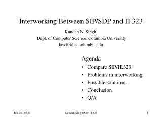 Interworking Between SIP/SDP and H.323
