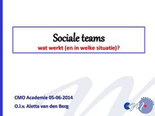 Sociale  teams wat werkt  (en in  welke situatie )?