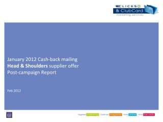 January 2012 Cash-back mailing  Head & Shoulders  supplier offer Post-campaign Report  Feb 2012