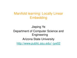 Manifold learning: Locally Linear Embedding