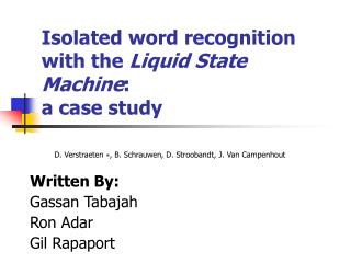 Isolated word recognition with the  Liquid State Machine : a case study