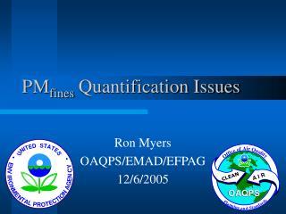 PMfines Quantification Issues