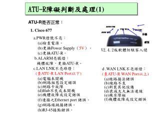 ATU-R 是否正常 : 1. Cisco 677 a.PWR 燈號不亮: (a) 檢查電源。 (b) 更換 Power Supply ( 5V )。 (c) 更換 ATU-R 。