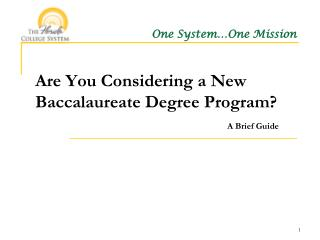 Are You Considering a New Baccalaureate Degree Program? A Brief Guide