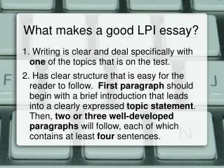 What makes a good LPI essay?