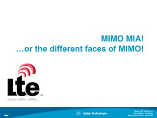 MIMO MIA! …or the different faces of MIMO!