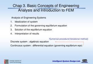 Chap 3. Basic Concepts of Engineering Analysis and Introduction to FEM