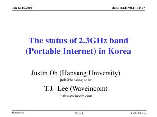 The status of 2.3GHz band (Portable Internet) in Korea