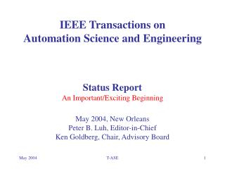 IEEE Transactions on  Automation Science and Engineering