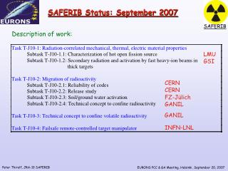 SAFERIB Status: September 2007