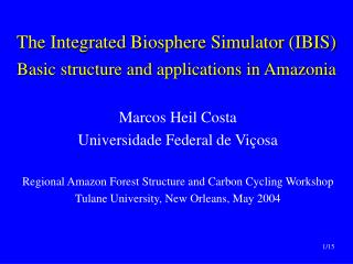 The Integrated Biosphere Simulator (IBIS) Basic structure and applications in Amazonia