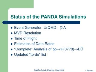Status of the PANDA Simulations