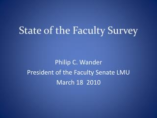 State of the Faculty Survey