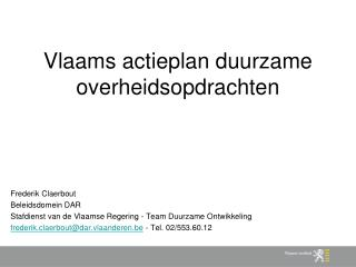 Vlaams actieplan duurzame overheidsopdrachten