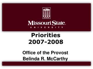 Priorities  2007-2008