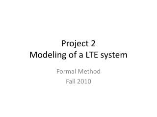 Project 2 Modeling of a LTE system