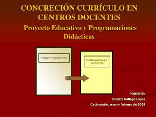 CONCRECIÓN CURRÍCULO EN CENTROS DOCENTES Proyecto Educativo y Programaciones Didácticas