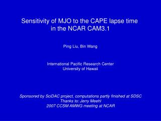 Sensitivity of MJO to the CAPE lapse time  in the NCAR CAM3.1