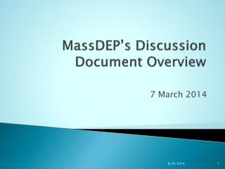 MassDEP's  Discussion Document Overview