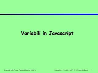 Variabili in Javascript
