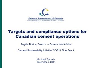 Targets and compliance options for Canadian cement operations