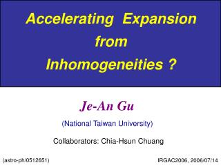 Accelerating  Expansion  from  Inhomogeneities ?