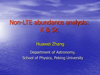 Non-LTE abundance analysis: K & Sc