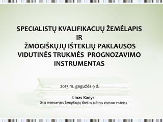 Linas Kadys Ūkio ministerijos Žmogiškųjų išteklių plėtros skyriaus vedėjas