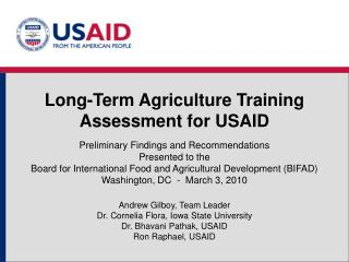 Long-Term Agriculture Training Assessment for USAID