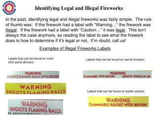 Examples of Illegal Fireworks Labels