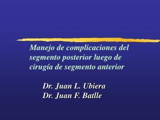 Manejo de complicaciones del segmento posterior luego de cirugía de segmento anterior