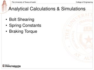 Analytical Calculations & Simulations