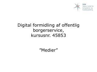 Digital formidling af offentlig borgerservice,  kursusnr. 45853