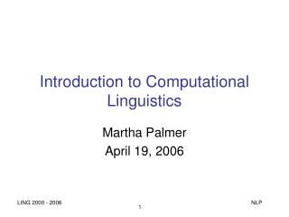Introduction to Computational Linguistics
